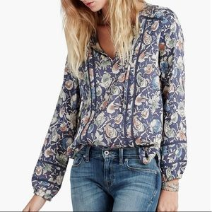 Lucky Brand printed floral peasant top